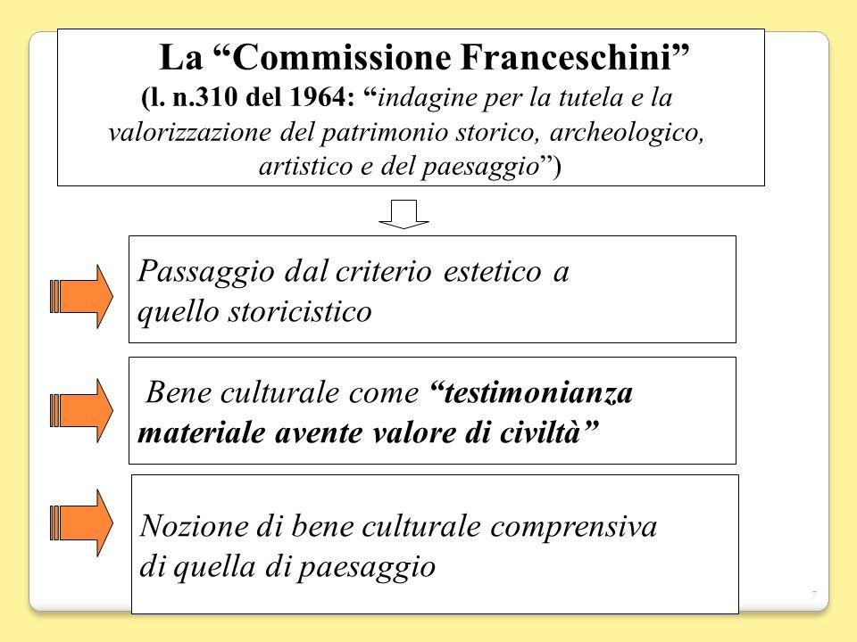 7 La Commissione Franceschini (l. n.310 del 1964: indagine per la tutela e la valorizzazione del patrimonio storico, archeologico, artistico e del pae