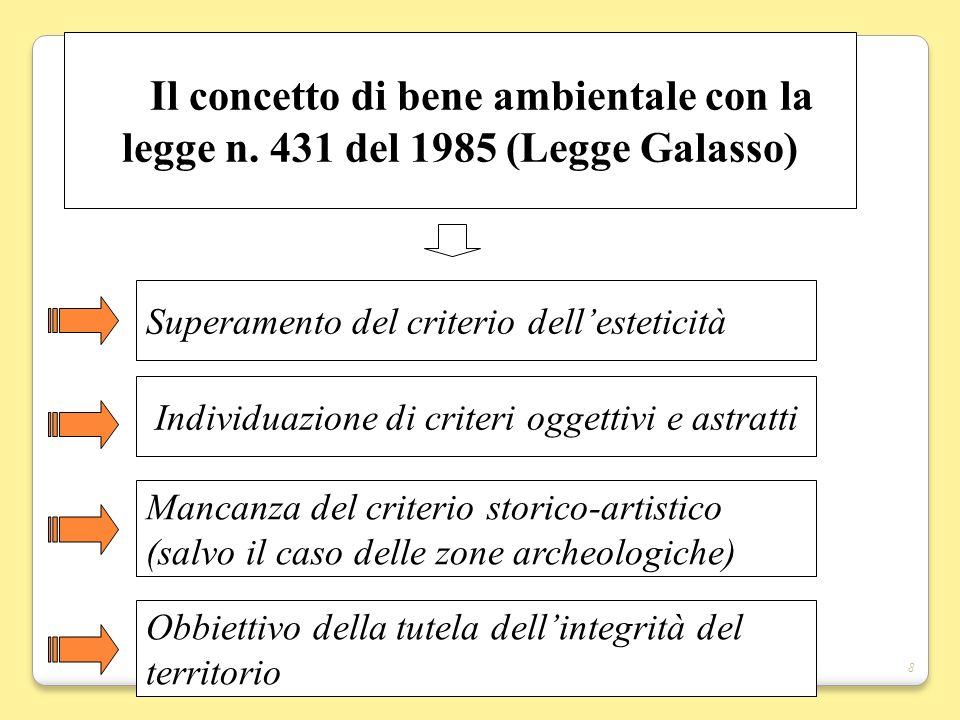 8 Il concetto di bene ambientale con la legge n. 431 del 1985 (Legge Galasso) Superamento del criterio dellesteticità Mancanza del criterio storico-ar
