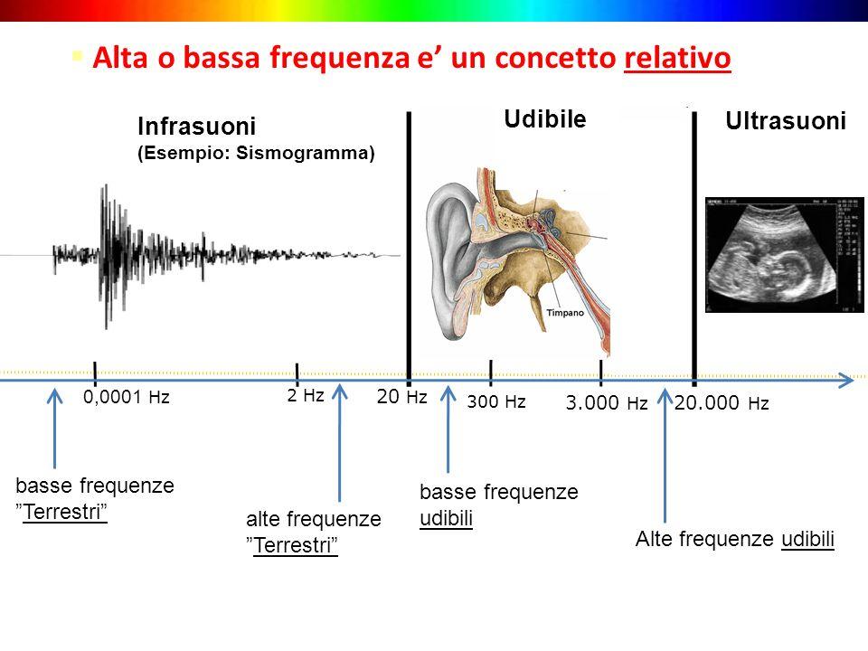 20 Hz 3.000 Hz Alte frequenze udibili Infrasuoni (Esempio: Sismogramma) Ultrasuoni Alta o bassa frequenza e un concetto relativo 20.000 Hz 300 Hz 2 Hz basse frequenze udibili TerrestriTerrestri alte frequenze TerrestriTerrestri 0,0001 Hz Udibile