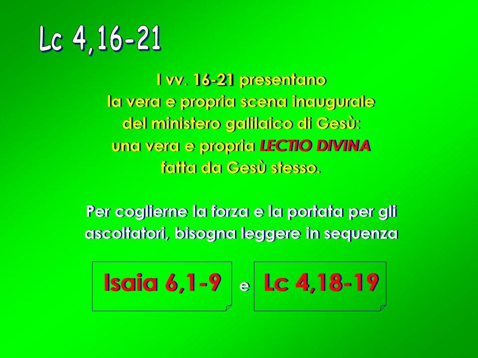 16-21 I vv. 16-21 presentano la vera e propria scena inaugurale del ministero galilaico di Gesù: una vera e propria LECTIO DIVINA fatta da Gesù stesso