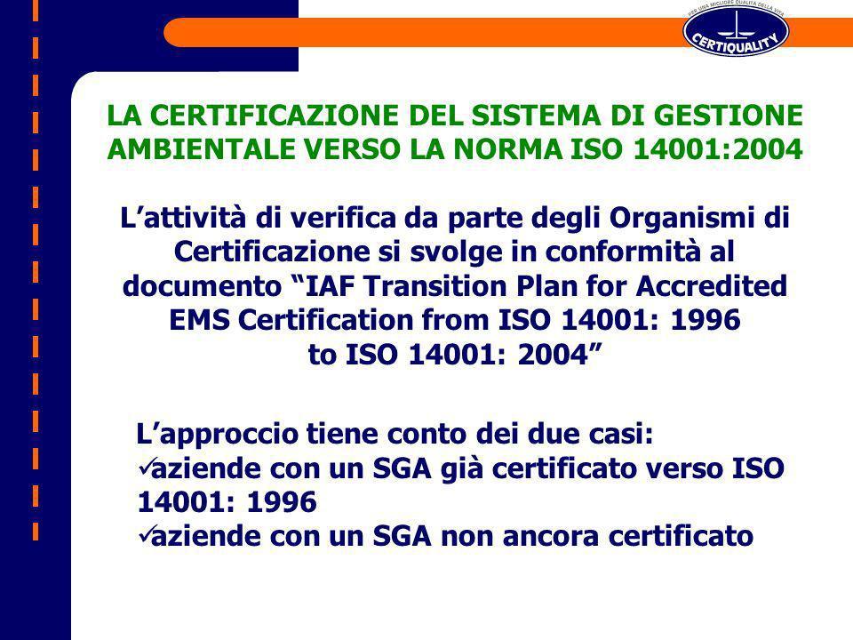 LA CERTIFICAZIONE DEL SISTEMA DI GESTIONE AMBIENTALE VERSO LA NORMA ISO 14001:2004 Lattività di verifica da parte degli Organismi di Certificazione si svolge in conformità al documento IAF Transition Plan for Accredited EMS Certification from ISO 14001: 1996 to ISO 14001: 2004 Lapproccio tiene conto dei due casi: aziende con un SGA già certificato verso ISO 14001: 1996 aziende con un SGA non ancora certificato
