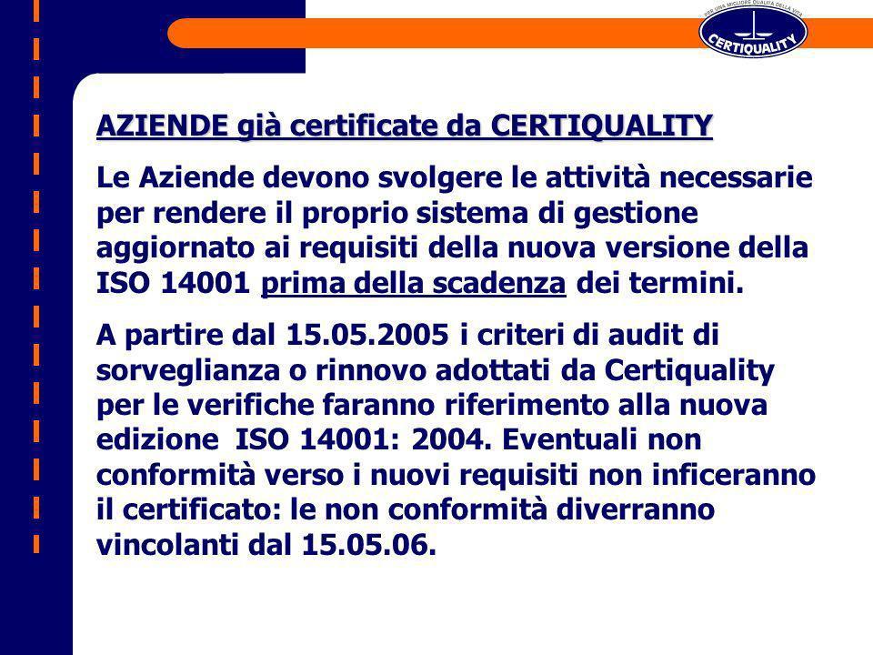 AZIENDE con iter di Certificazione in corso Nel caso in cui LAzienda abbia già ricevuto lo Stage 1, lo Stage 2 potrà essere condotto ancora verso la norma del 1996 se svolto entro il 15.05.05 ; al contrario, dopo il 15.05.05 lo Stage 2 sarà condotto verso la nuova UNI EN ISO 14001: 04.