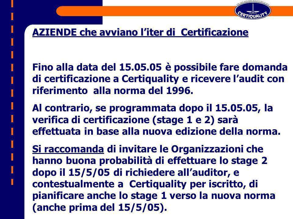 AZIENDE che avviano liter di Certificazione Fino alla data del 15.05.05 è possibile fare domanda di certificazione a Certiquality e ricevere laudit con riferimento alla norma del 1996.