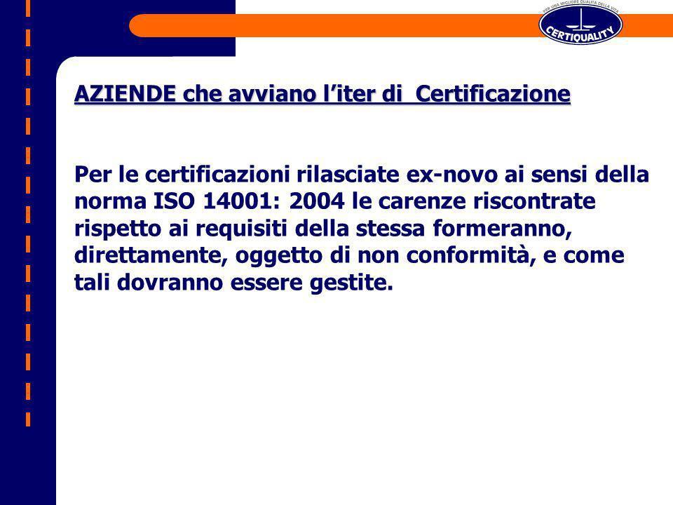 AZIENDE che avviano liter di Certificazione Per le certificazioni rilasciate ex-novo ai sensi della norma ISO 14001: 2004 le carenze riscontrate rispetto ai requisiti della stessa formeranno, direttamente, oggetto di non conformità, e come tali dovranno essere gestite.