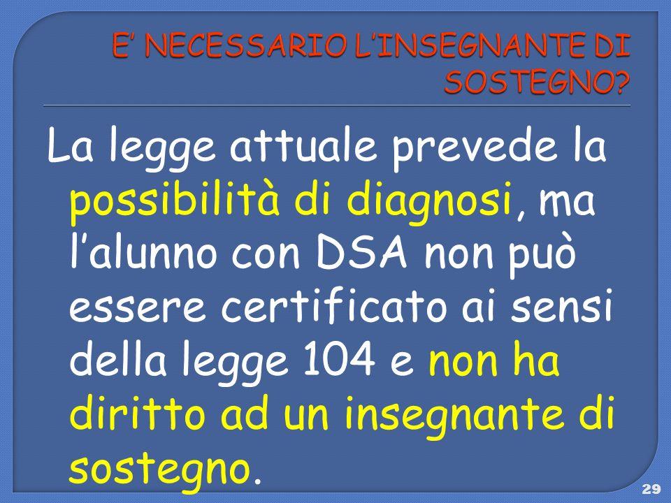 29 La legge attuale prevede la possibilità di diagnosi, ma lalunno con DSA non può essere certificato ai sensi della legge 104 e non ha diritto ad un