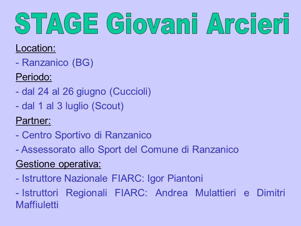 Location: - Ranzanico (BG) Periodo: - dal 24 al 26 giugno (Cuccioli) - dal 1 al 3 luglio (Scout) Partner: - Centro Sportivo di Ranzanico - Assessorato