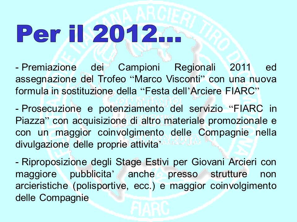 - Premiazione dei Campioni Regionali 2011 ed assegnazione del Trofeo Marco Visconti con una nuova formula in sostituzione della Festa dell Arciere FIA