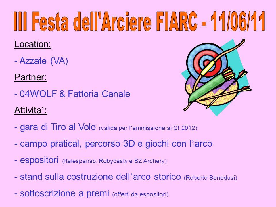 Location: - Azzate (VA) Partner: - 04WOLF & Fattoria Canale Attivita : - gara di Tiro al Volo (valida per l ammissione ai CI 2012) - campo pratical, p