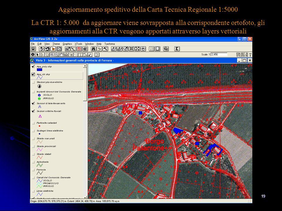 Ing. A Bondesan - Consorzio Generale18 Aggiornamento speditivo della Carta Tecnica Regionale Utilizzo delle Ortofoto 1998 e dei fogli aggiornati di vi