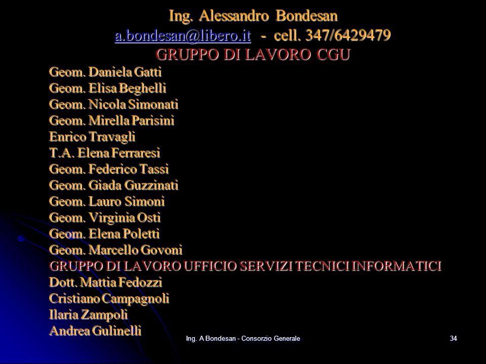 Ing.A Bondesan - Consorzio Generale33 Conclusioni - I G.I.S.