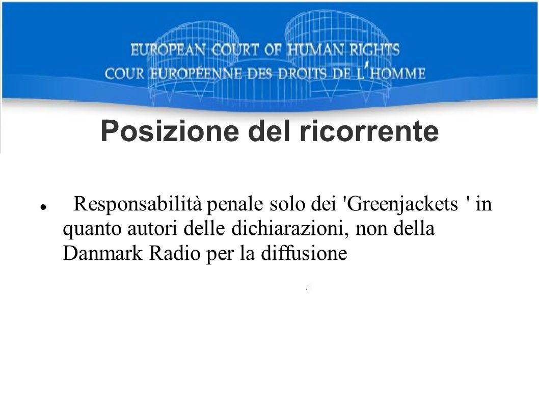Posizione del ricorrente Responsabilità penale solo dei 'Greenjackets ' in quanto autori delle dichiarazioni, non della Danmark Radio per la diffusion