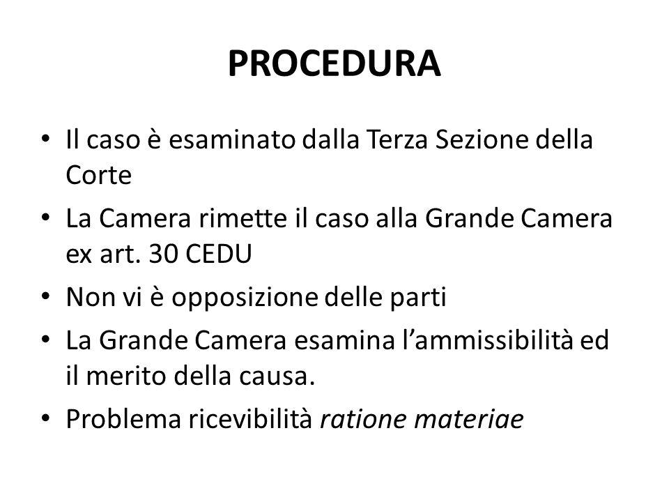 PROCEDURA Il caso è esaminato dalla Terza Sezione della Corte La Camera rimette il caso alla Grande Camera ex art.