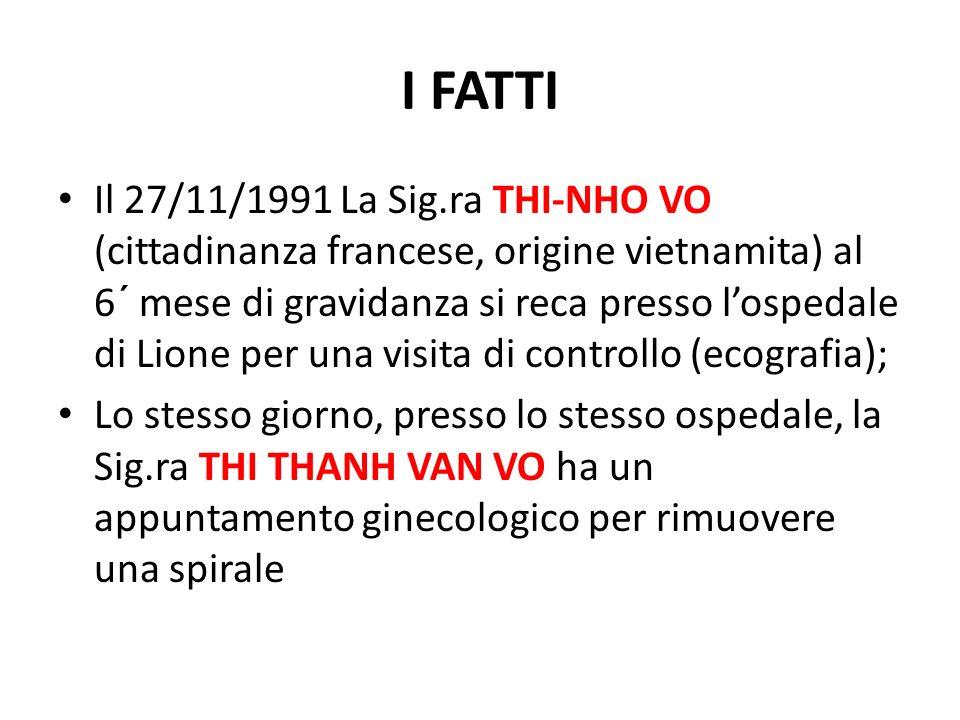 I FATTI Il 27/11/1991 La Sig.ra THI-NHO VO (cittadinanza francese, origine vietnamita) al 6´ mese di gravidanza si reca presso lospedale di Lione per una visita di controllo (ecografia); Lo stesso giorno, presso lo stesso ospedale, la Sig.ra THI THANH VAN VO ha un appuntamento ginecologico per rimuovere una spirale