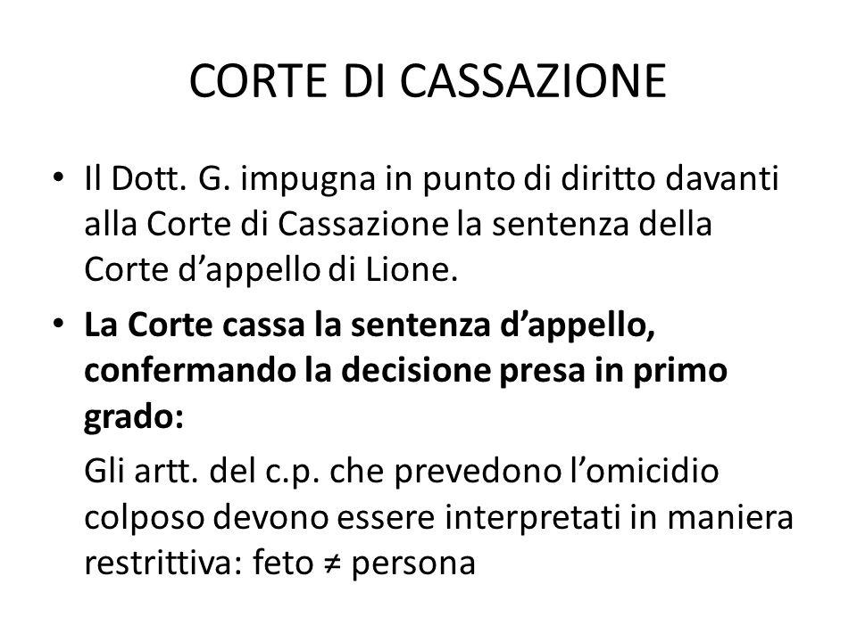 CORTE DI CASSAZIONE Il Dott. G.