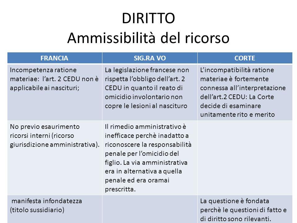 DIRITTO Ammissibilità del ricorso FRANCIASIG.RA VOCORTE Incompetenza ratione materiae: lart.