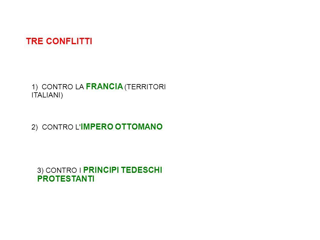 TRE CONFLITTI 1) CONTRO LA FRANCIA (TERRITORI ITALIANI) 2) CONTRO L' IMPERO OTTOMANO 3) CONTRO I PRINCIPI TEDESCHI PROTESTANTI