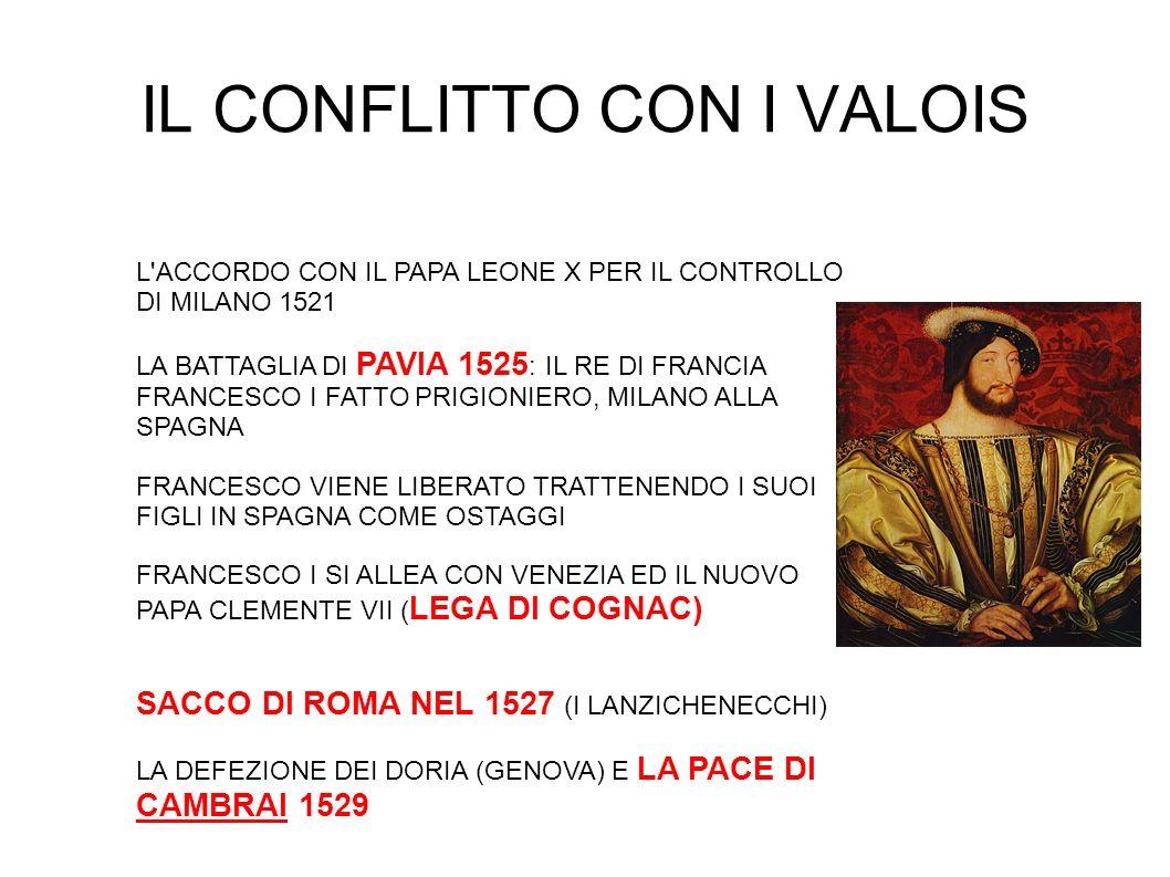 IL CONFLITTO CON I VALOIS L'ACCORDO CON IL PAPA LEONE X PER IL CONTROLLO DI MILANO 1521 LA BATTAGLIA DI PAVIA 1525 : IL RE DI FRANCIA FRANCESCO I FATT