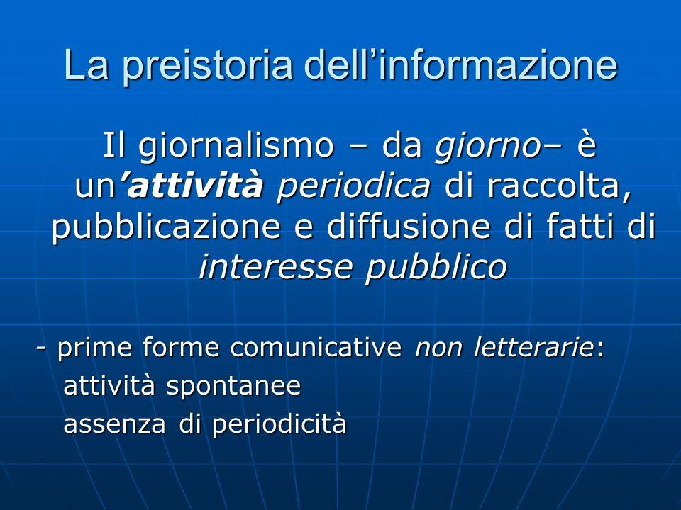 La preistoria dellinformazione Il giornalismo – da giorno– è unattività periodica di raccolta, pubblicazione e diffusione di fatti di interesse pubbli