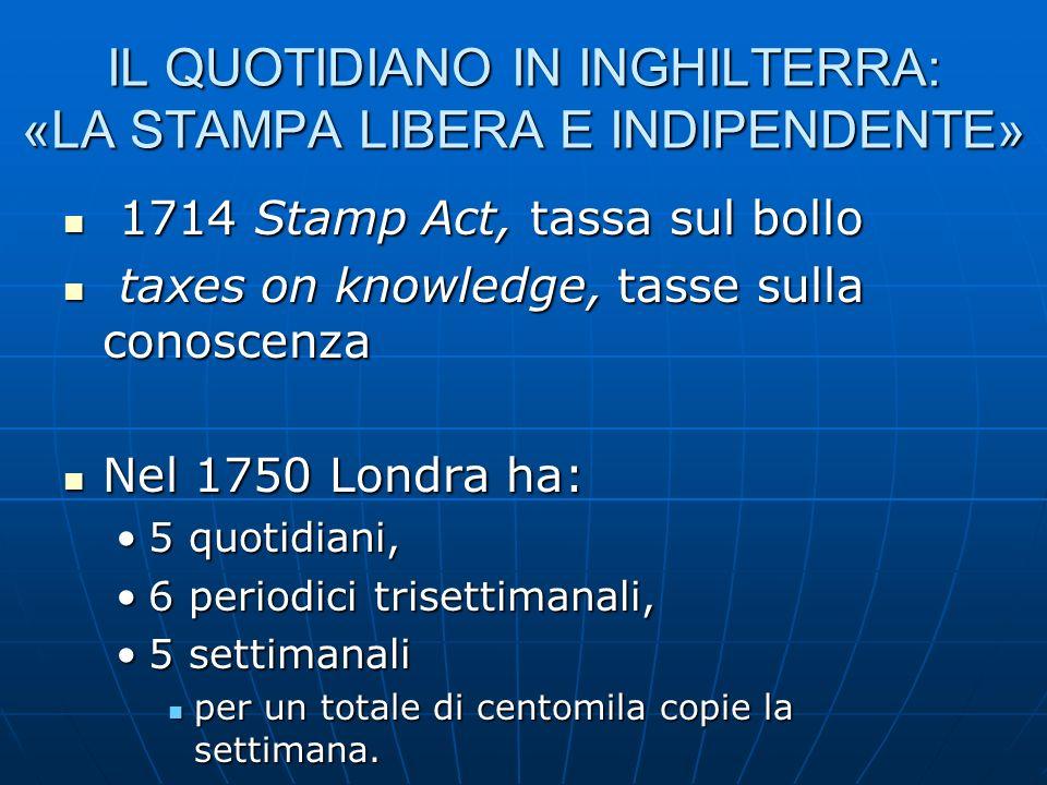 IL QUOTIDIANO IN INGHILTERRA: «LA STAMPA LIBERA E INDIPENDENTE» 1714 Stamp Act, tassa sul bollo 1714 Stamp Act, tassa sul bollo taxes on knowledge, ta
