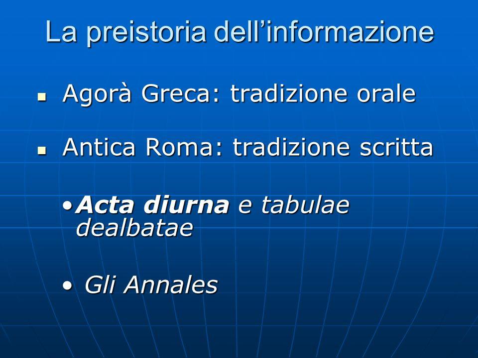 La preistoria dellinformazione Agorà Greca: tradizione orale Agorà Greca: tradizione orale Antica Roma: tradizione scritta Antica Roma: tradizione scr