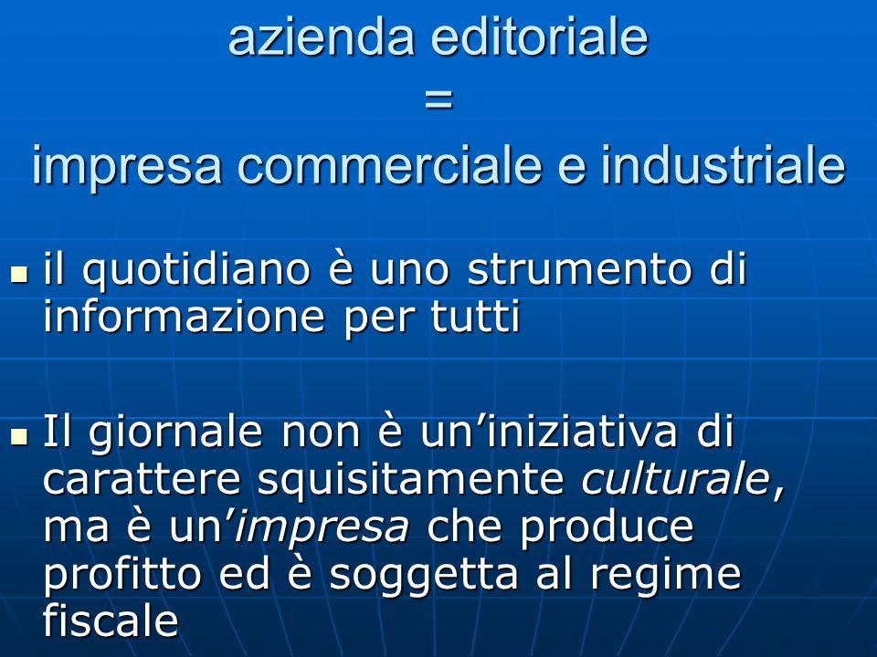 azienda editoriale = impresa commerciale e industriale il quotidiano è uno strumento di informazione per tutti il quotidiano è uno strumento di inform