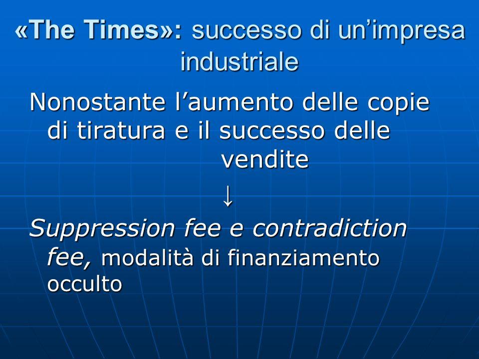 «The Times»: successo di unimpresa industriale Nonostante laumento delle copie di tiratura e il successo delle vendite Suppression fee e contradiction