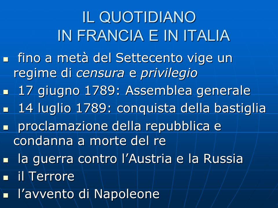IL QUOTIDIANO IN FRANCIA E IN ITALIA fino a metà del Settecento vige un regime di censura e privilegio fino a metà del Settecento vige un regime di ce