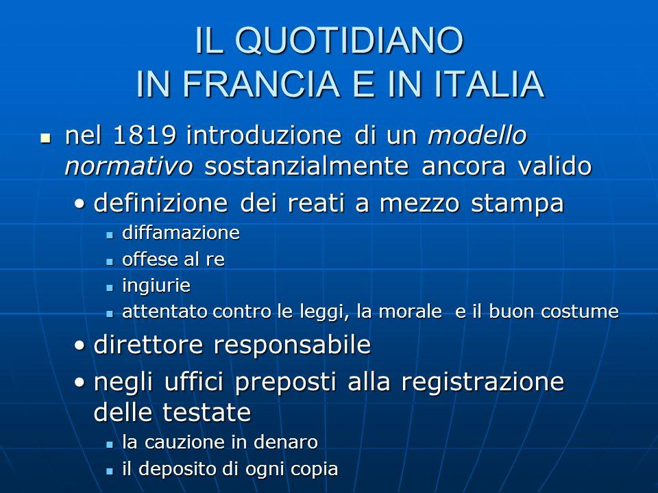 IL QUOTIDIANO IN FRANCIA E IN ITALIA nel 1819 introduzione di un modello normativo sostanzialmente ancora valido nel 1819 introduzione di un modello n
