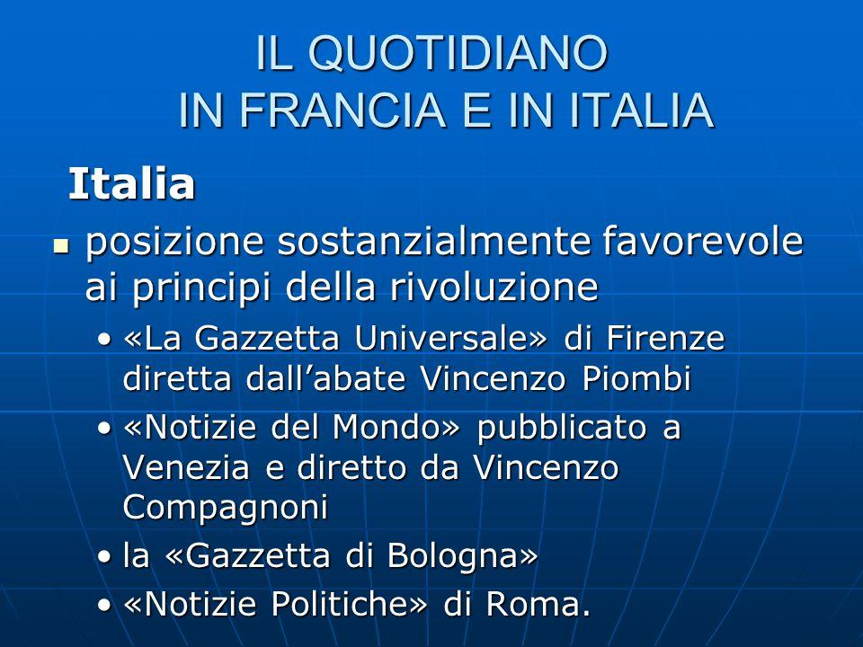IL QUOTIDIANO IN FRANCIA E IN ITALIA Italia Italia posizione sostanzialmente favorevole ai principi della rivoluzione posizione sostanzialmente favore