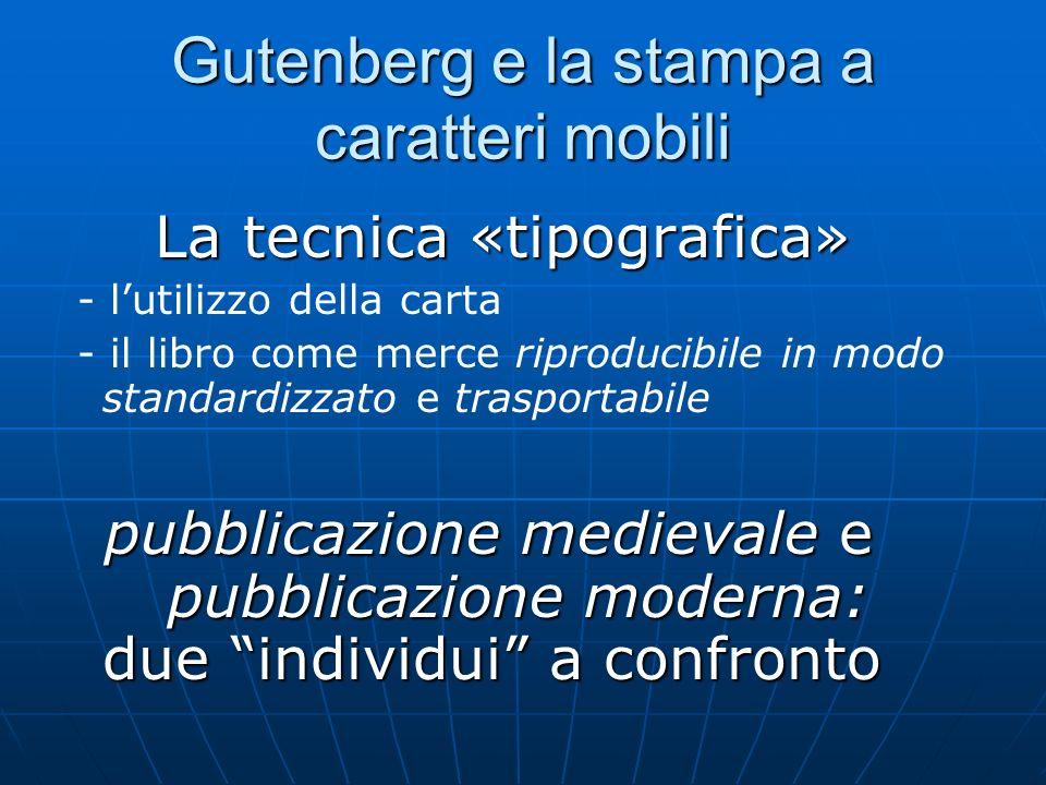 Gutenberg e la stampa a caratteri mobili La tecnica «tipografica» La tecnica «tipografica» - lutilizzo della carta - il libro come merce riproducibile