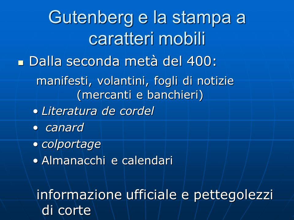Gutenberg e la stampa a caratteri mobili Dalla seconda metà del 400: Dalla seconda metà del 400: manifesti, volantini, fogli di notizie (mercanti e ba