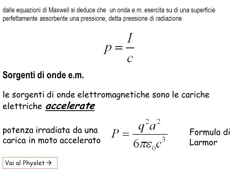 Vai al Physlet le sorgenti di onde elettromagnetiche sono le cariche elettriche accelerate Sorgenti di onde e.m. dalle equazioni di Maxwell si deduce
