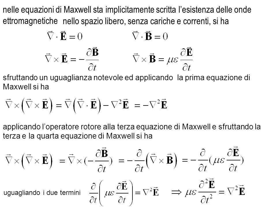 nelle equazioni di Maxwell sta implicitamente scritta lesistenza delle onde ettromagnetiche nello spazio libero, senza cariche e correnti, si ha uguag