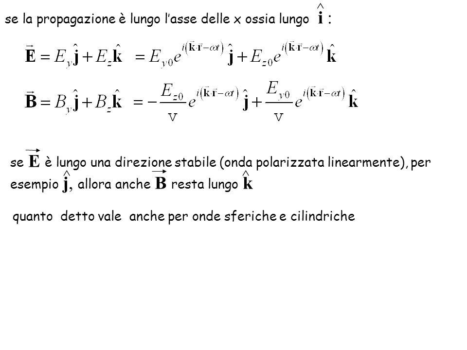 quanto detto vale anche per onde sferiche e cilindriche se la propagazione è lungo lasse delle x ossia lungo i : ^ se E è lungo una direzione stabile