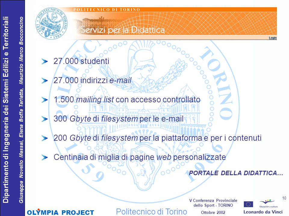 27.000 studenti 27.000 indirizzi e-mail 1.500 mailing list con accesso controllato 300 Gbyte di filesystem per le e-mail 200 Gbyte di filesystem per l