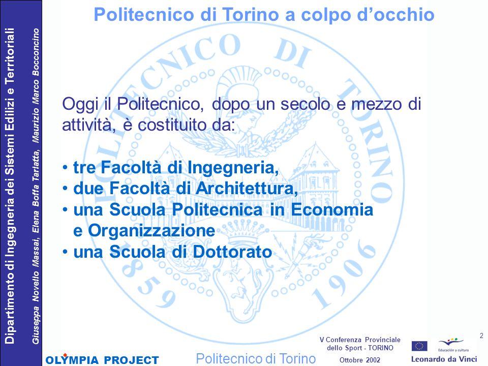 Politecnico di Torino a colpo docchio Oggi il Politecnico, dopo un secolo e mezzo di attività, è costituito da: tre Facoltà di Ingegneria, due Facoltà
