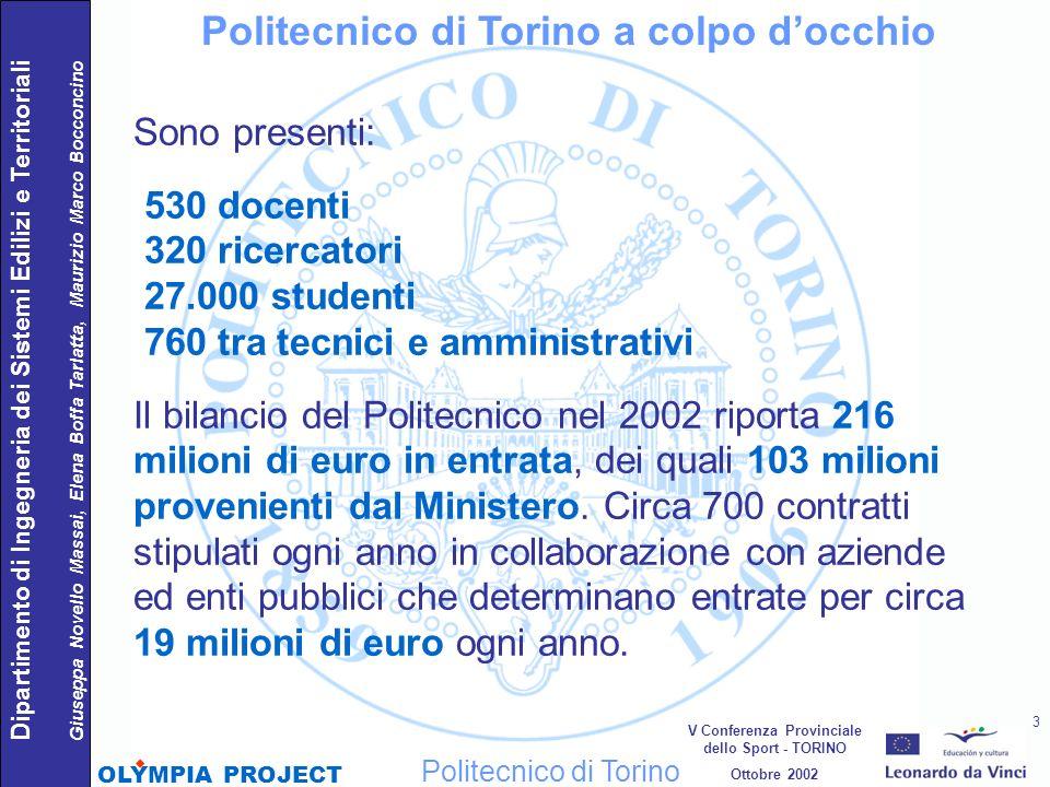 Sono presenti: 530 docenti 320 ricercatori 27.000 studenti 760 tra tecnici e amministrativi Il bilancio del Politecnico nel 2002 riporta 216 milioni d