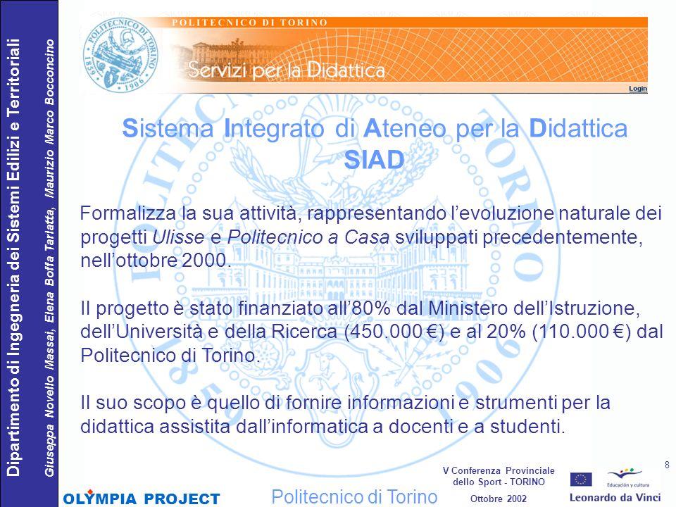 Sistema Integrato di Ateneo per la Didattica SIAD Formalizza la sua attività, rappresentando levoluzione naturale dei progetti Ulisse e Politecnico a
