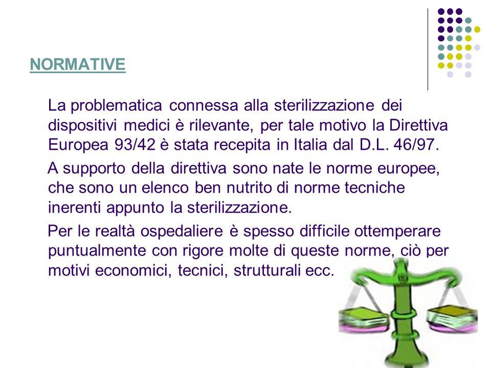 NORMATIVE La problematica connessa alla sterilizzazione dei dispositivi medici è rilevante, per tale motivo la Direttiva Europea 93/42 è stata recepit