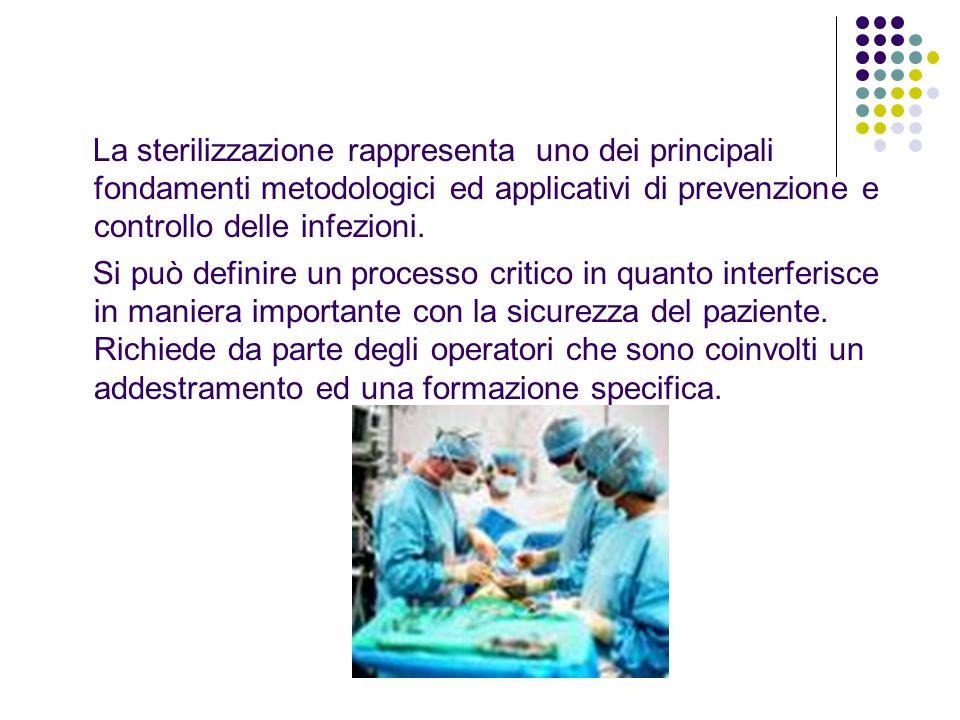 La sterilizzazione rappresenta uno dei principali fondamenti metodologici ed applicativi di prevenzione e controllo delle infezioni. Si può definire u