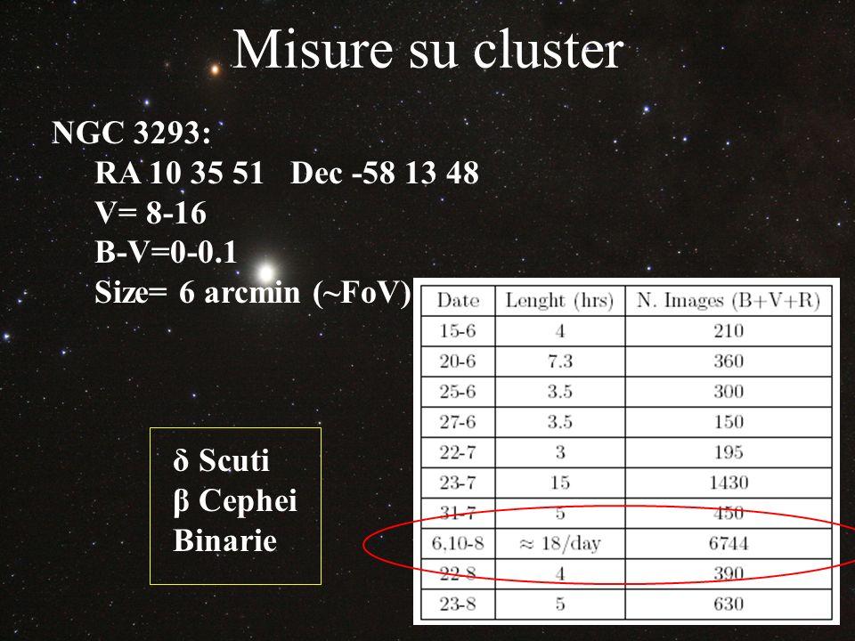 Misure su cluster NGC 3293: RA 10 35 51 Dec -58 13 48 V= 8-16 B-V=0-0.1 Size= 6 arcmin (~FoV) δ Scuti β Cephei Binarie