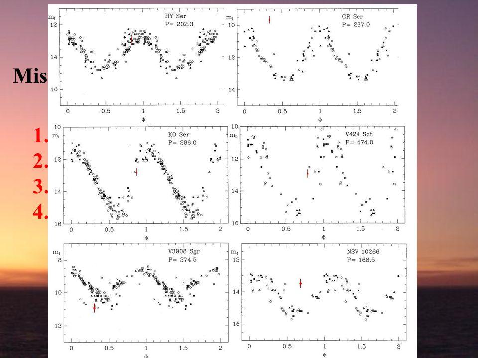 AGB stars Misure di Maffei (Pg, anni60) Verifica del periodo a grande distanza temporale Test in banda I per IRAIT 1.Selezione delle sorgenti 2.Strate