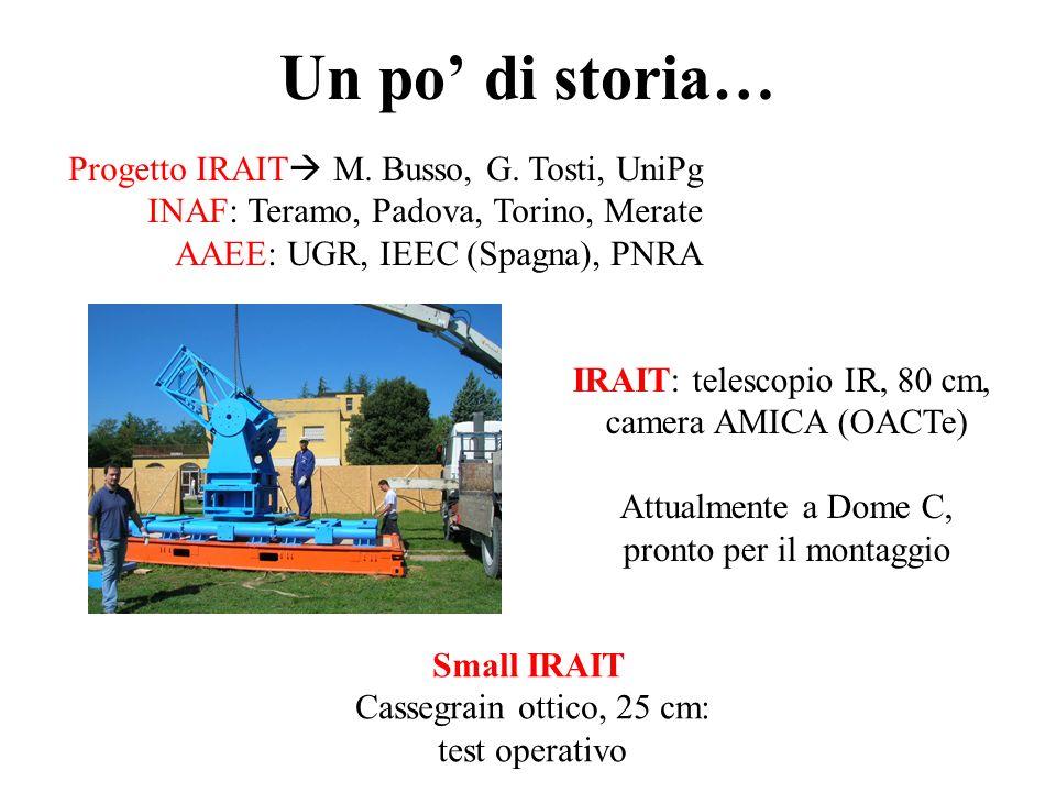 Un po di storia… Progetto IRAIT M. Busso, G. Tosti, UniPg INAF: Teramo, Padova, Torino, Merate AAEE: UGR, IEEC (Spagna), PNRA IRAIT: telescopio IR, 80