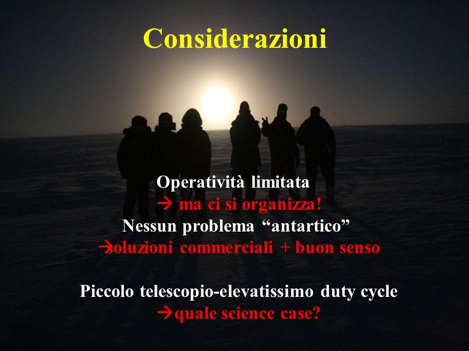 Considerazioni Operatività limitata ma ci si organizza! Nessun problema antartico soluzioni commerciali + buon senso Piccolo telescopio-elevatissimo d