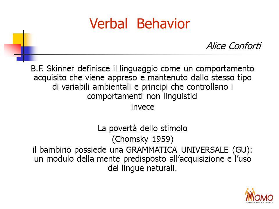 Verbal Behavior B.F. Skinner definisce il linguaggio come un comportamento acquisito che viene appreso e mantenuto dallo stesso tipo di variabili ambi