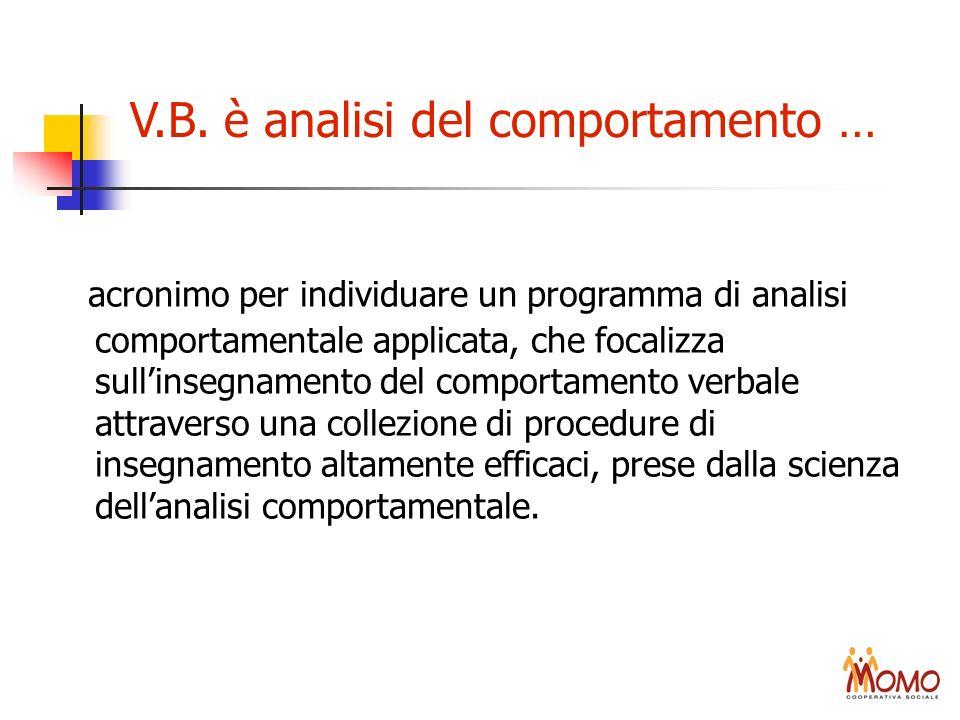 V.B. è analisi del comportamento … acronimo per individuare un programma di analisi comportamentale applicata, che focalizza sullinsegnamento del comp