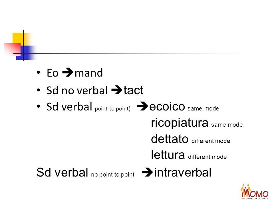 Eo mand Sd no verbal tact Sd verbal point to point) ecoico same mode ricopiatura same mode dettato different mode lettura different mode Sd verbal no