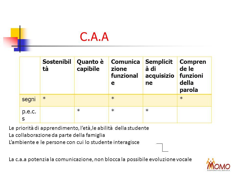 C.A.A Le priorità di apprendimento, letà,le abilità della studente La collaborazione da parte della famiglia Lambiente e le persone con cui lo student