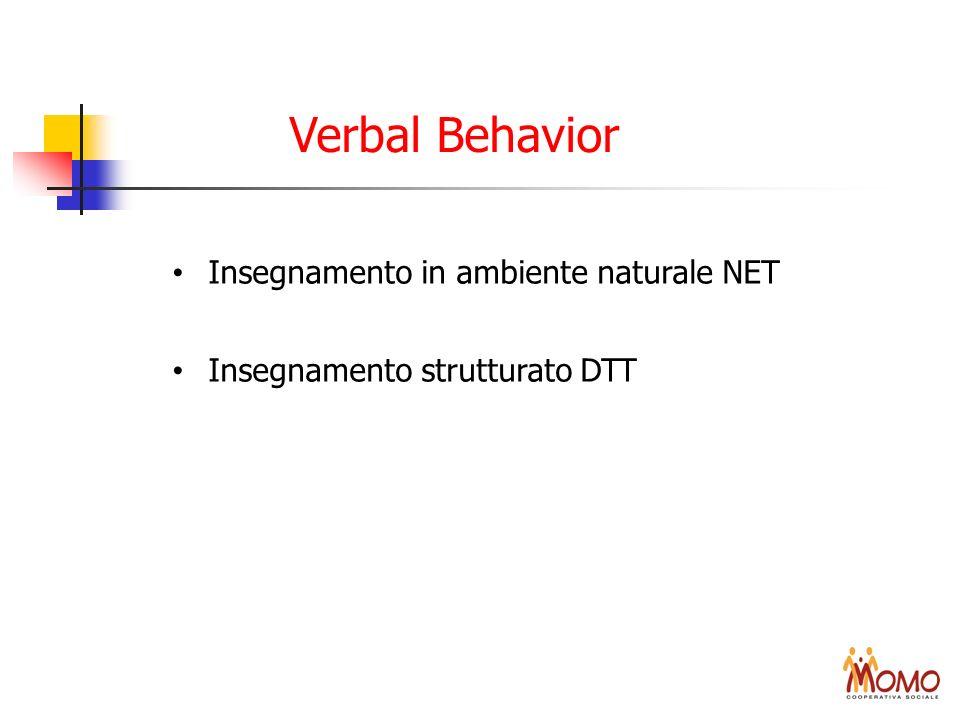 Verbal Behavior Insegnamento in ambiente naturale NET Insegnamento strutturato DTT