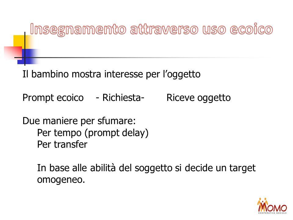 Il bambino mostra interesse per loggetto Prompt ecoico- Richiesta- Riceve oggetto Due maniere per sfumare: Per tempo (prompt delay) Per transfer In ba